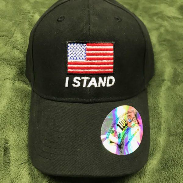 Black I stand America Flag