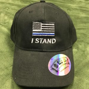 Black I stand flag with police flag