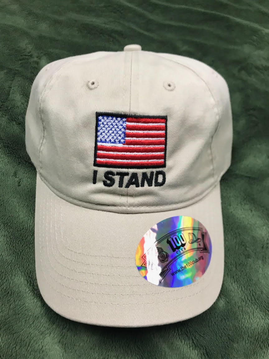 "Khaki ""I Stand"" American Flag Hat – Hat Jockey f7bde5db51f"